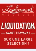 Prospectus Meubles Lambermont  : Liquidation avant travaux
