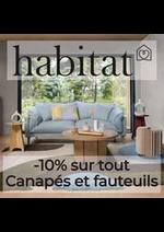 Prospectus Habitat : -10% sur tout Canapés et fauteuils